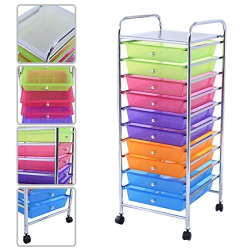 KAYSEV 10 Drawer Rolling Storage Organizer Cart