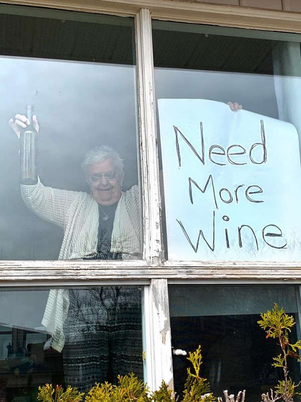 Old lady asks for wine