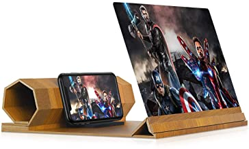 3D Screen Magnifier for Movies Non-Slip Cellphone pad Foonii 2020 New 12 Screen Magnifier for Smartphone Wood Videos and Gaming with Foldable Holder Stand Compatible with All Smartphones
