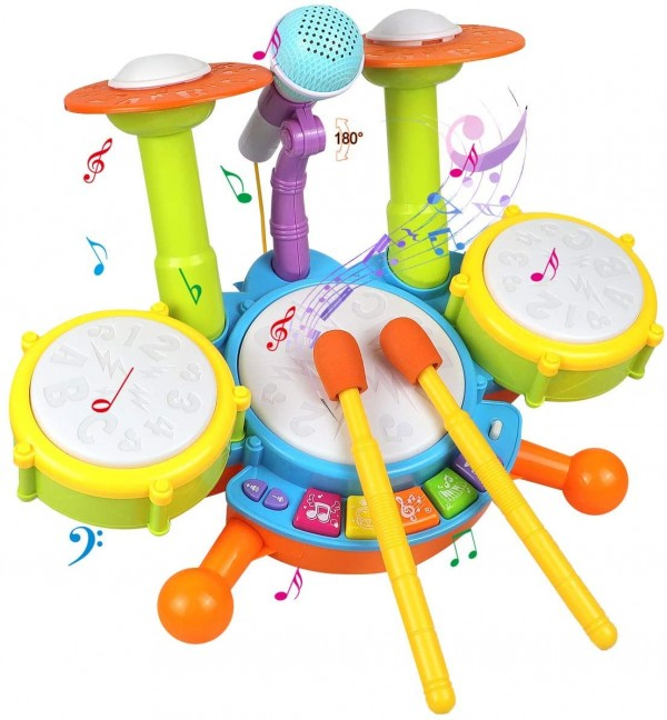 POKONBOY Kids Drum Set Toddler Toys with Adjustable Microphone