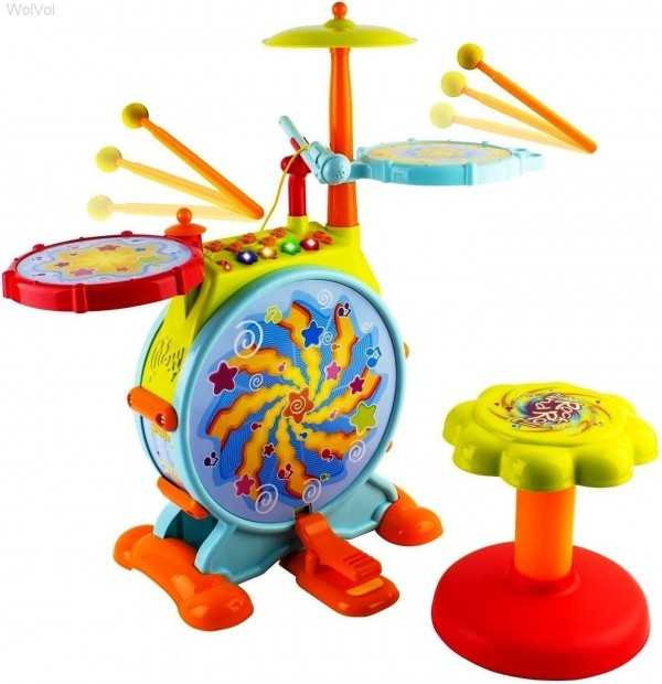WolVol Electric Big Toy Drum Set for Kids with Movable Working Microphone to Sing and a Chair