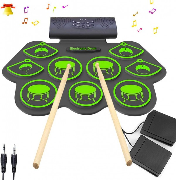 Electronic Drum Set KONIX Bluetooth Electric Midi Drum Set Kit for Kids