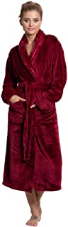 Women's Luxury Warm Fleece Bathrobe with Pockets