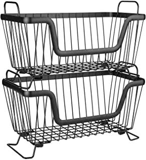 LOTTS Stackable Metal Storage Organizer Bin Basket with Handles