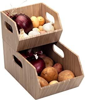 Bamboo Storage Bins for Pantry & Kitchen Cabinet Organizer