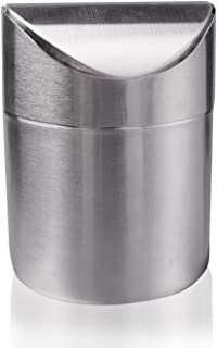 LOVEINUSA Mini Table Trash Can Recycling Brushed Stainless Steel Wave