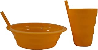 Children's Sippable Plastic Tumbler Cup and Cereal Bowl Set with Built-In Straw