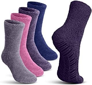 TruTread Fuzzy Socks for Women and Men Non Slip/Skid Hospital Crew Socks