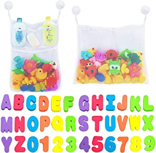 Comfylife 2 x Mesh Bath Toy Organizer Bath Letters and Numbers