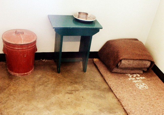 The inside of Mandela's prison cell as it was when he was imprisoned in 1964 on Robben Island. Source: Wikipedia