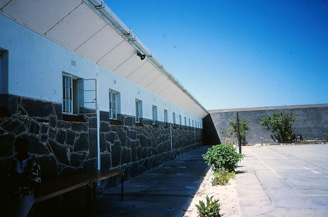 Mandela's open cell window facing the prison yard on Robben Island, now a national and World Heritage Site. Source: Wikipedia