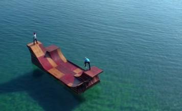 stunts on floating skate ramp