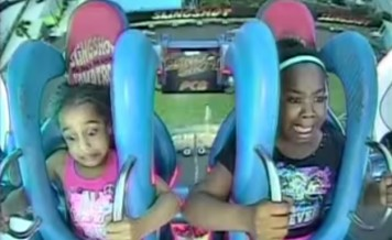 two girls and a slingshot ride