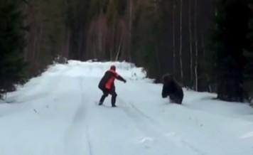 Man scared a bear