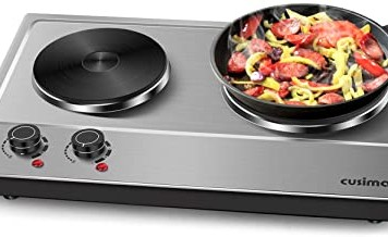 Cusimax Hot Plate Electric Double Burner Cast Iron Heating Plate Indoor&Outdoor Stove